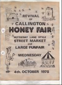 The advertisment flyer from the 1978 callington honey fair