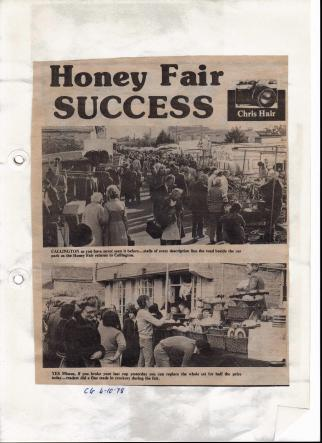 Newspaper clipping about the success of honey fair 1978