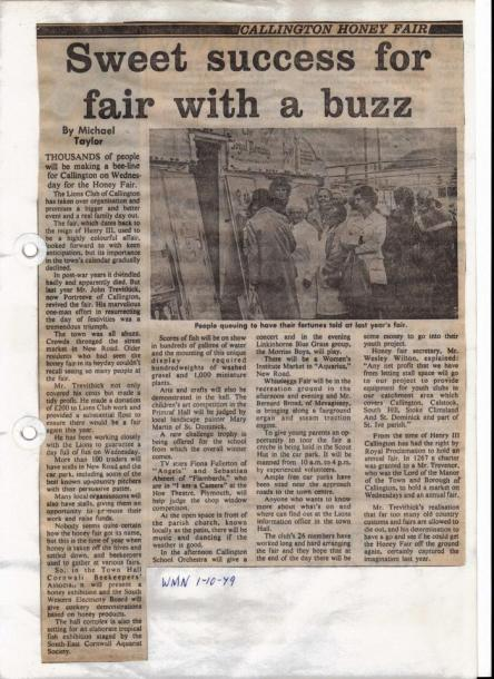 Newspaper article about the 1979 Callington Honey Fair