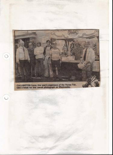 A photo from a local paper showing some of the Lions at the 1979 Honey Fair