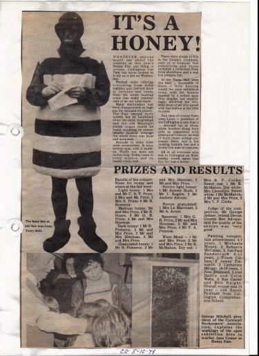 Cornish Guardian article from 1979 including a charter lion member Terry Bolt dressed up as a bee