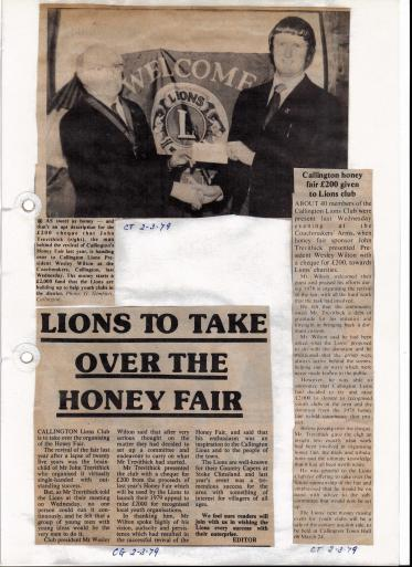 Cornish Guardian and Cornish Times articles regarding the new management of honey fair in 1979